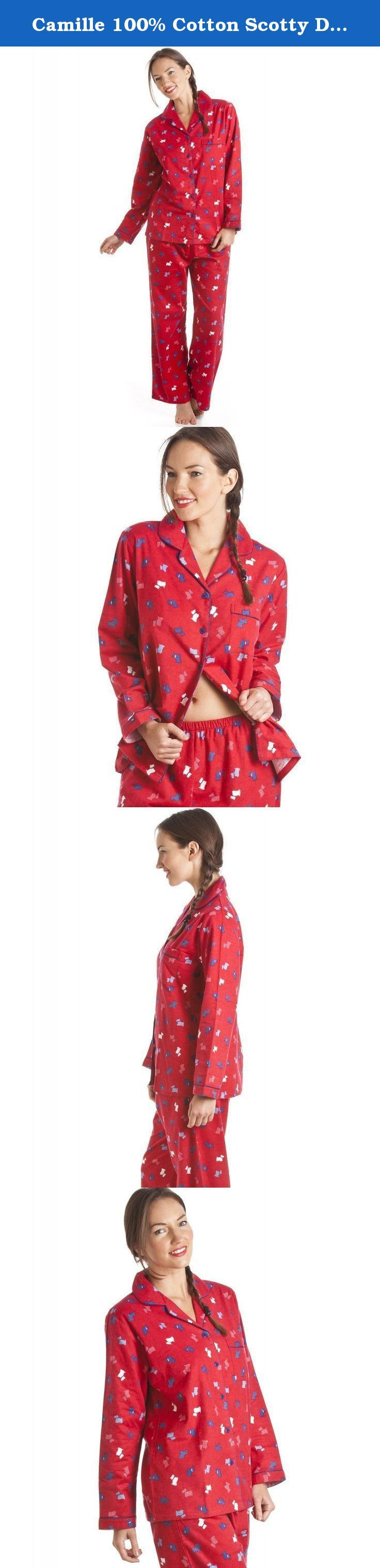Camille 100% Cotton Scotty Dog Print Full Length Wincy Pyjama Set 10/12 RED. Luxury 100% cotton long sleeve pyjamas with full length bottoms. Featuring a Scotty dog print with contrasting piped edging around the neckline and cuffs. Part of our new range of 100% Cotton nightwear in a wide range of colours and designs. .