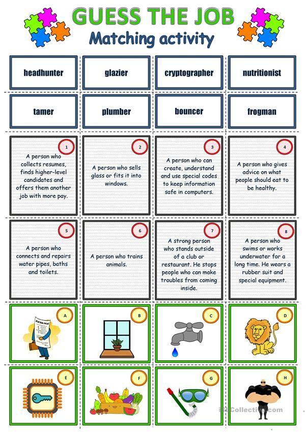 Pin On English Teaching english jobs worksheets