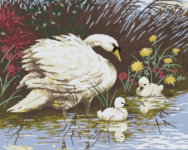 Collection d'Art:11.863 Mother Swan & Signets - CANVAS ONLY - Penelope Antique Canvas, colour printed design. Canvas size 40cm X 60cm with DMC thread recommendations.