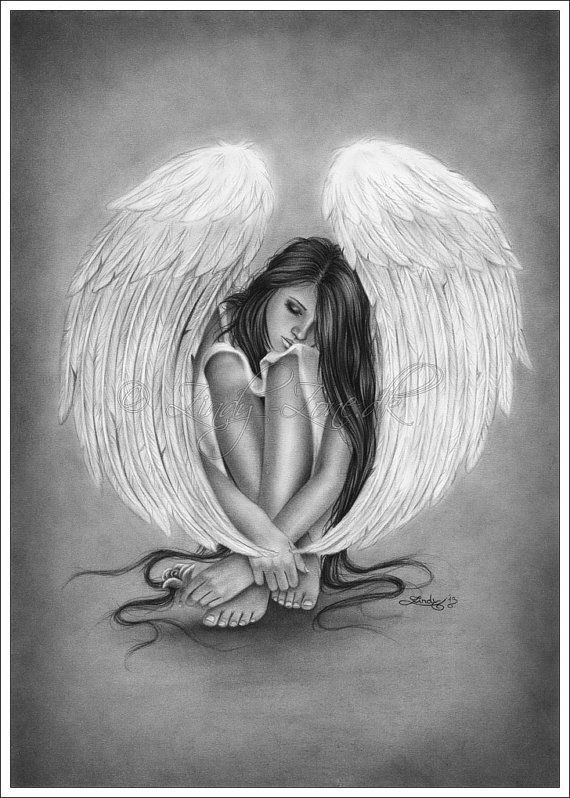 Gone too quickly Angel Wings Magnificence Rose Artwork Print Emo Fantasy Woman Girl Zindy Nielsen