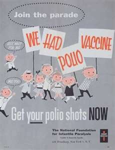 polio vaccine  *I remember the long lines at the grade school where the entire neighborhood showed up for our inoculations, they said*