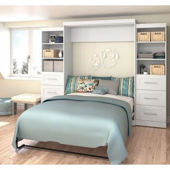 """Boutique Queen Wall Bed with Two 25"""" Storage Units with Drawers in White"""