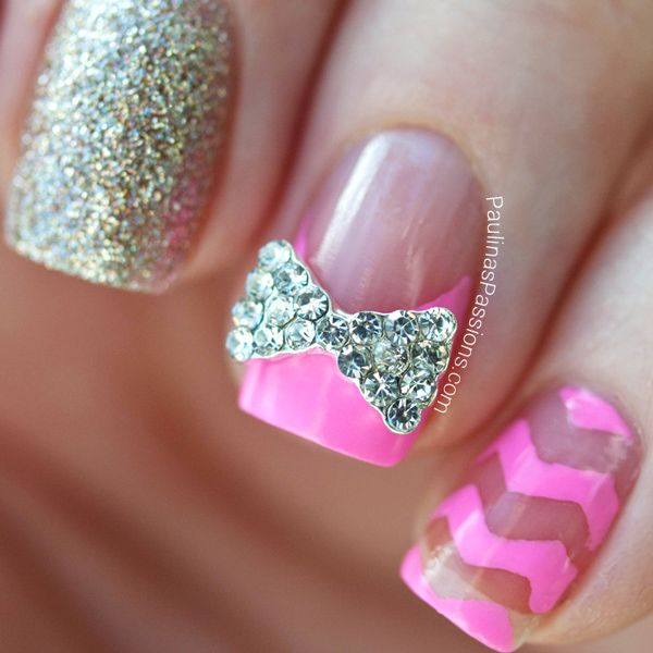 Cute Nails Designs With Diamonds And Bows | www.pixshark ...