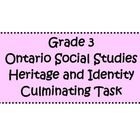 A culminating task based on the new Ontario Social Studies curriculum for Grade 3! It has a teacher sheet that describes the task, a student sheet, student planner sheets, a checkbric, and learning goals and success criteria. It also has cross curricular connections to writing! $