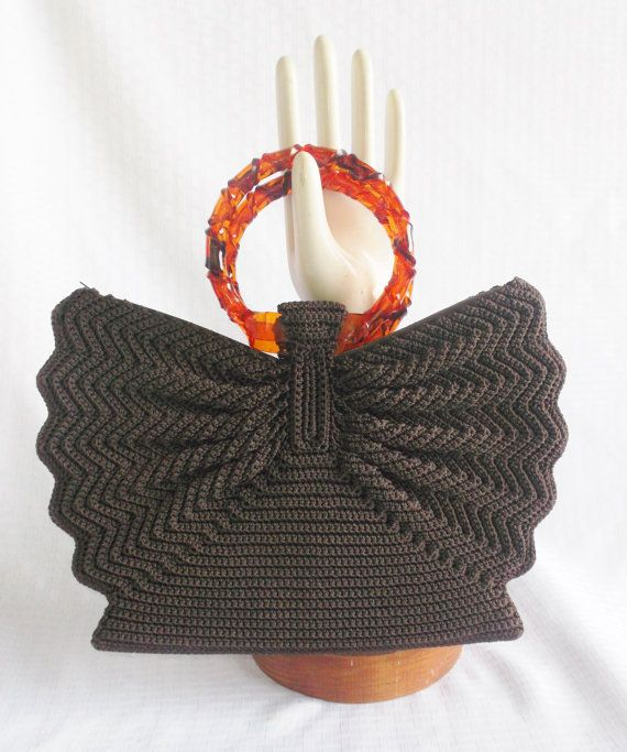 1940's Vintage Chocolate Brown Knit Purse with by MyVintageHatShop, $50.00