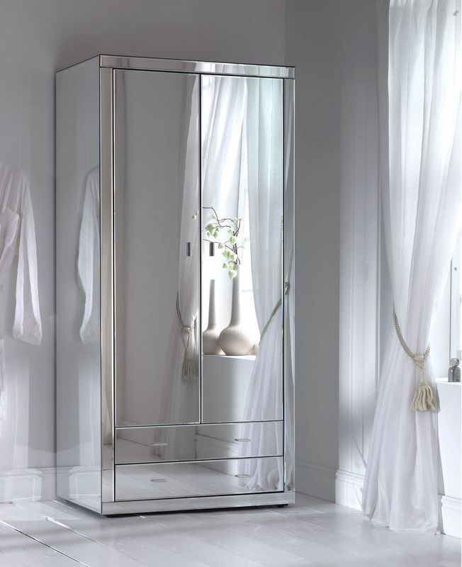 Fantastic mirrored wardrobe all sides. Beautiful curtains and tie...Fashionable Design Small Mirrored Wardrobe For Bedroom