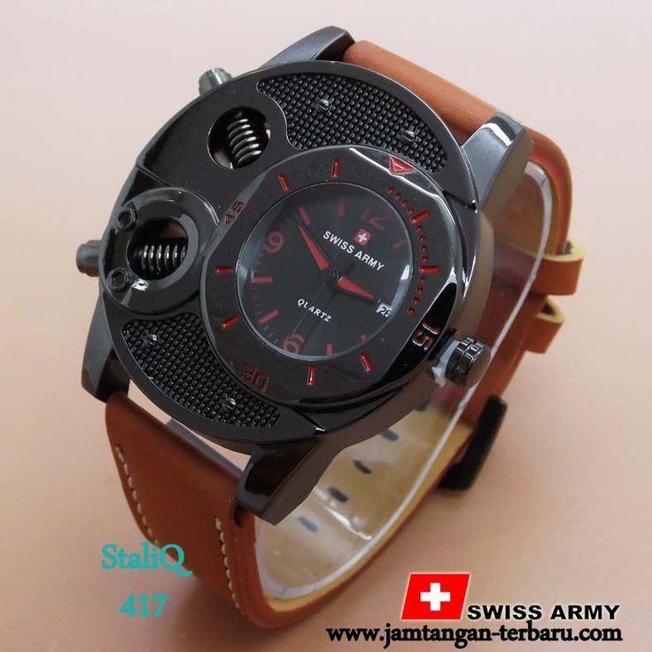 SWISS ARMY BA625 BROWN LEATHER LIST RED - Jam Tangan Terbaru | Jam Tangan Keren