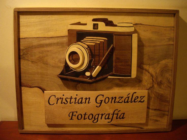 Cámara fotográfica: Cuadro realizado en maderas de 1 pulgada, caladas, pulidas y sombreado pintado. Nombre tallado y pintado. Pedido especial.