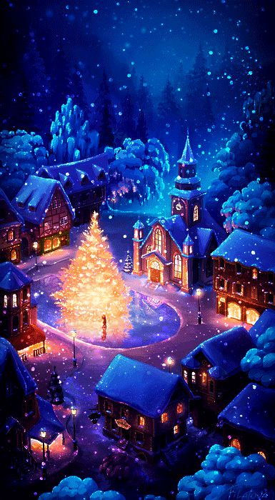 Christmas gif. Christmas tree in centre of village…