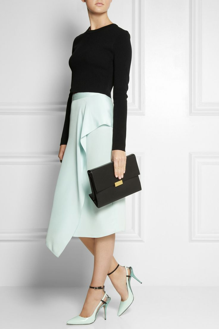 Vionnet | Wrap-front silk skirt, Stella McCartney bag, and Alexander Wang shoes
