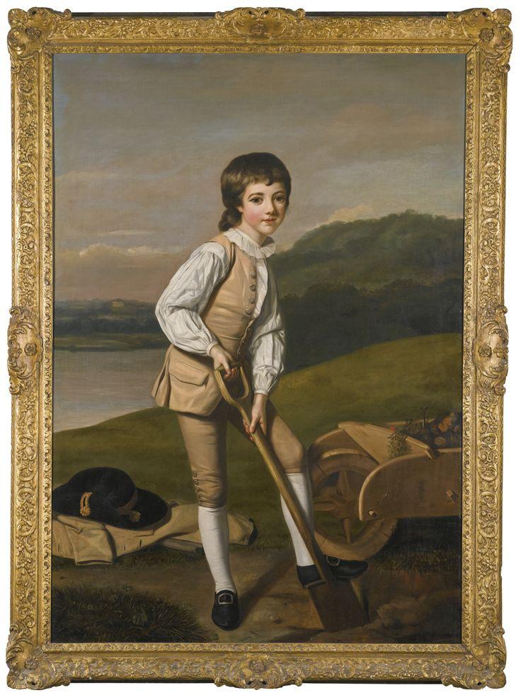 Attributed to William Hoare of Bath, R.A. EYE C. 1707 - 1792 BATH PORTRAIT OF SIR WILLIAM CLAYTON, 4TH BT (1762-1834) WHEN A BOY, WEARING A BUFF WAISTCOAT AND WHITE SHIRT, HOLDING A SPADE