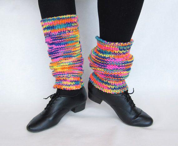 Knitted leggings Multicolored leggings dance par NeedlesOfSvetlana