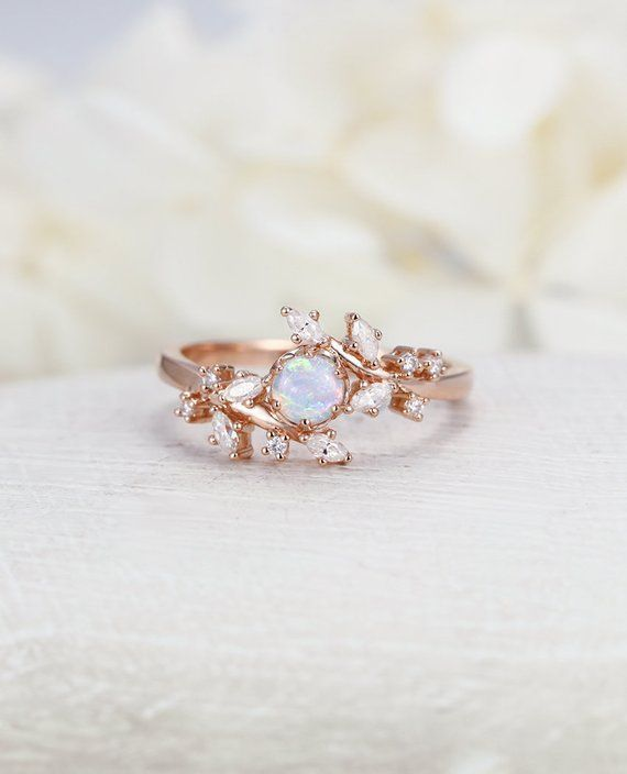 Opal Engagement Ring Rose Gold Engagement Ring Diamond Cluster Ring Unique Delicate Leaf Wedding Ring