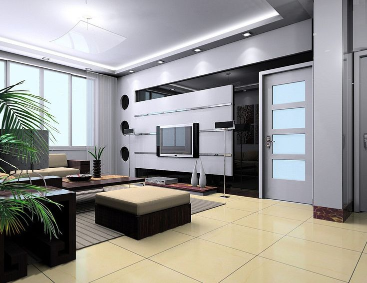 Living Room Feature Walls House The Trends Design With Black Wall And  Floating Tv Wall On The White Wall Also White Door Four Panel And White  Window Glass ...
