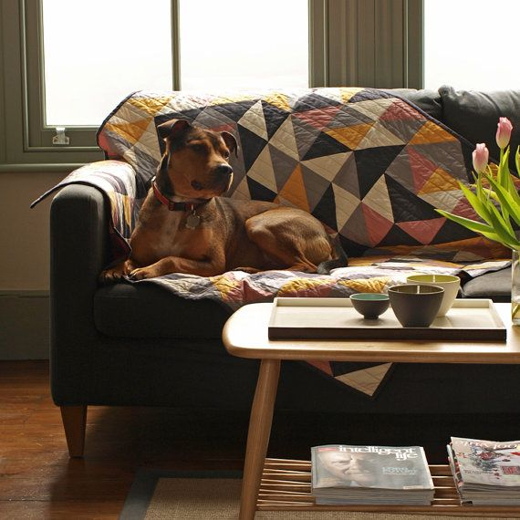 Geometric Dog Sofa Throw Quilt by eastendbestfriend on Etsy
