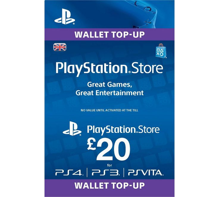 Buy PlayStation Wallet Top-up: £20 PSN at Argos.co.uk, visit Argos.co.uk to shop online for Playstation Plus and network cards, PS4, Video games and consoles, Technology