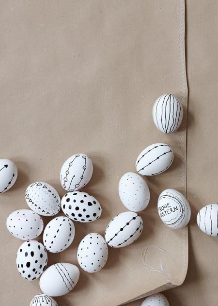 Black white simple design easter eggs