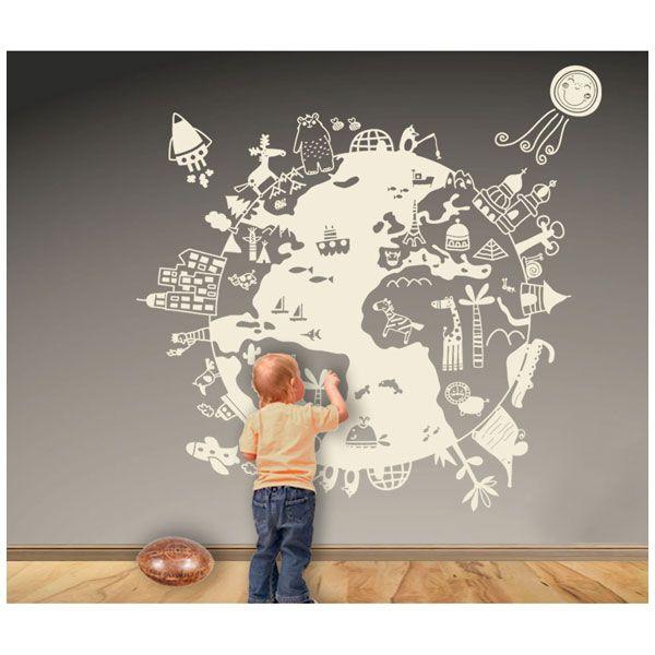 Vinilo decorativo bola del mundo de decora tu pared todopap s decoraci n infantil pinterest - Bola del mundo decoracion ...