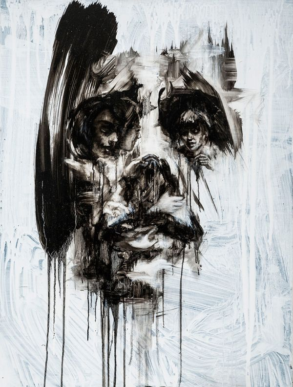 Amazing layered portraits by Tom French #bleaq #painting #detail #dripping #portrait #face