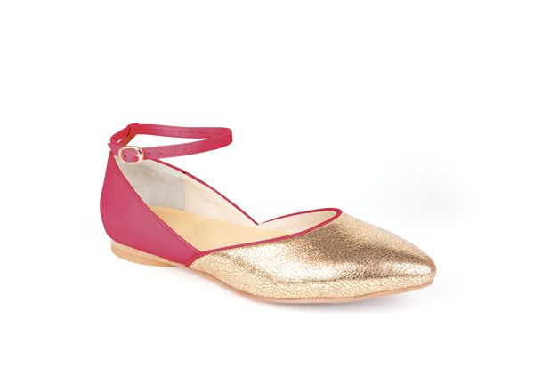 The Modern Mary-Jane by Poppy Barley Made to Measure, colour blocked in Peony and Metallic Gold. #Customize your leather colours and hardware. #Handcrafted to your measurements. #Flats #BalletFlats poppybarley.com