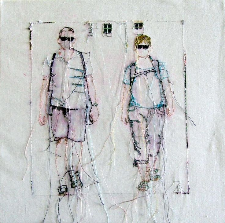 Free Machine Embroidery and Painting on Canvas. Mixed Media Textile Art, Textile artist Artist Study R  Zepf  , Resources for Art Students ,  Art School Portfolio Works #Textiles