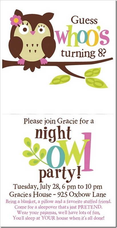 """night owl"" party. cute idea!  so cute for when Ava starts having sleep overs."