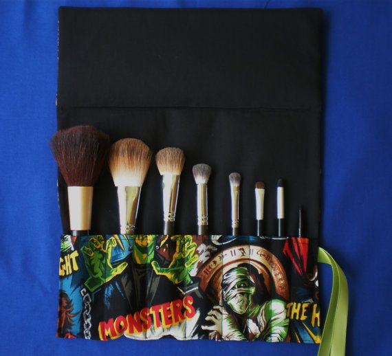 Robert Kaufman Hollywood Movie Monster cosmetology makeup brush roll: Monster Cosmetology, Makeup Brushes, Mess Threads, Hollywood Movie, Make Up Brushes, Monster Makeup, Cosmetology Makeup