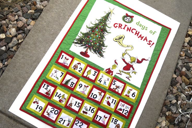 Quilted Advent Calendar from How The Grinch Saved Christmas! - Reusable Advent Calendar - Price Reduced Due to Printing Error by WonderQuiltSupply on Etsy