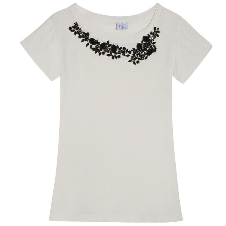T-shirt gola bordada