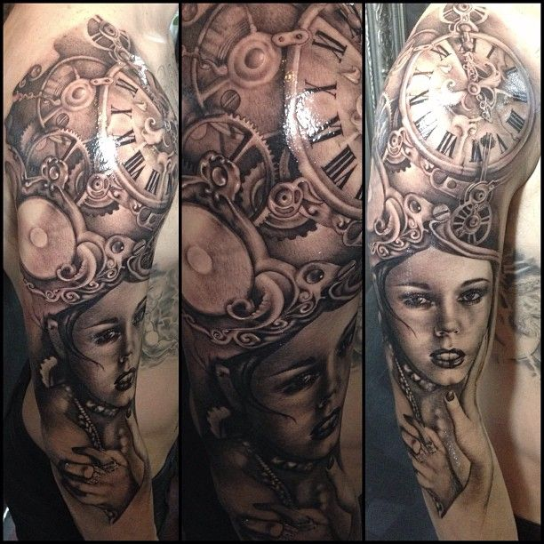 """@teneile_napoli's photo: """"all things beautiful die in time. #time #timepeice #beauty #blackandgrey #tattoo #garageink #muse #elliscooper @ellisecooperoffical @Becky Hui Chan Allen Sullens Clothing @superbtattoos_clothing"""""""