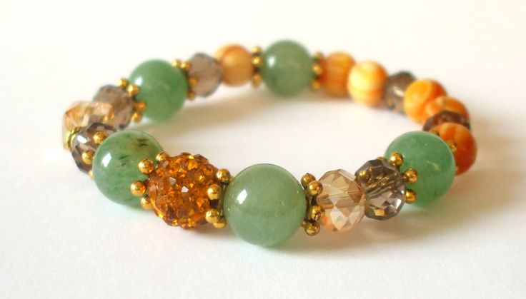 Aventurin semi-precious stone bracelet Mineral bracelet with gold colored spacer beads Gemstone bracelet with shamballa bead Gift for her by dorijewelnook on Etsy
