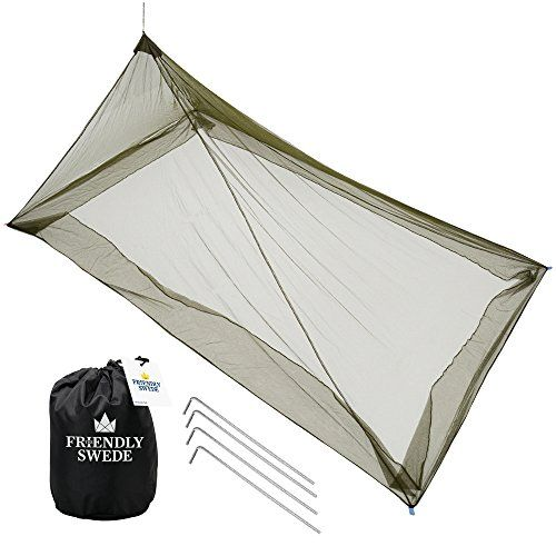The Friendly Swede Mosquito Net Canopy for Single Camping Bed, Tent Pegs Included - Compact and Lightweight Pyramid Net (Army Green). For product info go to:  https://all4hiking.com/products/the-friendly-swede-mosquito-net-canopy-for-single-camping-bed-tent-pegs-included-compact-and-lightweight-pyramid-net-army-green/