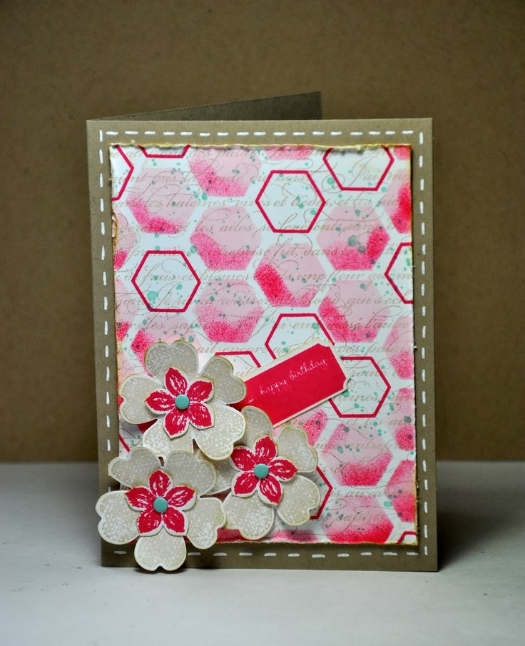 A card which almost didn't make it! I used the new Stampin' Up!® Hexagon Hive die as a template to make the background.