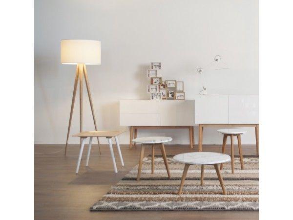Tripod Wood - Stehlampe - Weiß/ Eiche