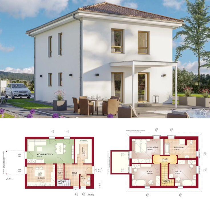 Moderne Fertighaus Stadtvilla mit Walmdach und Putz