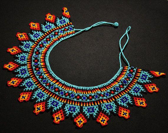 Native American Beaded Necklace Huichol Necklace Beaded Bib