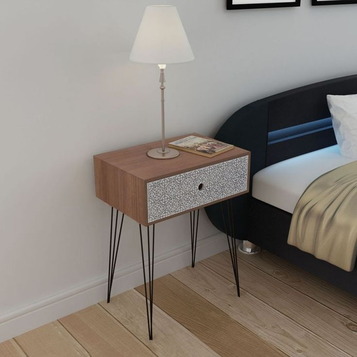 Nightstand Side Table Bedside Storage Cabinet Retro Drawer Bedroom Organizer  New