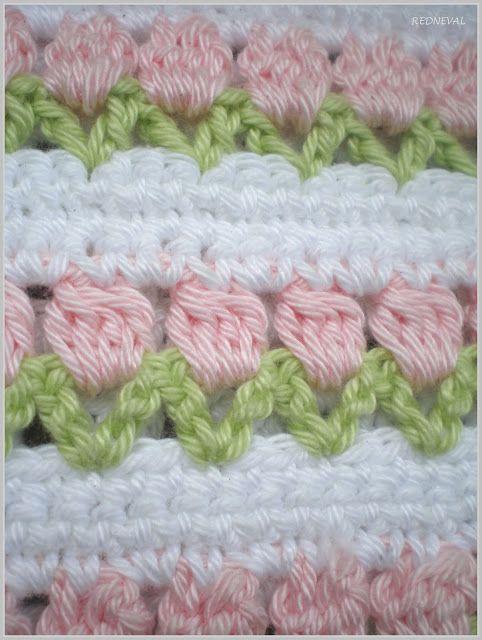 REDNEVAL-LAVENDER: Nový vzoreček a vůně máty... link stitch: http://www.redheart.com/free-patterns/flowers-row