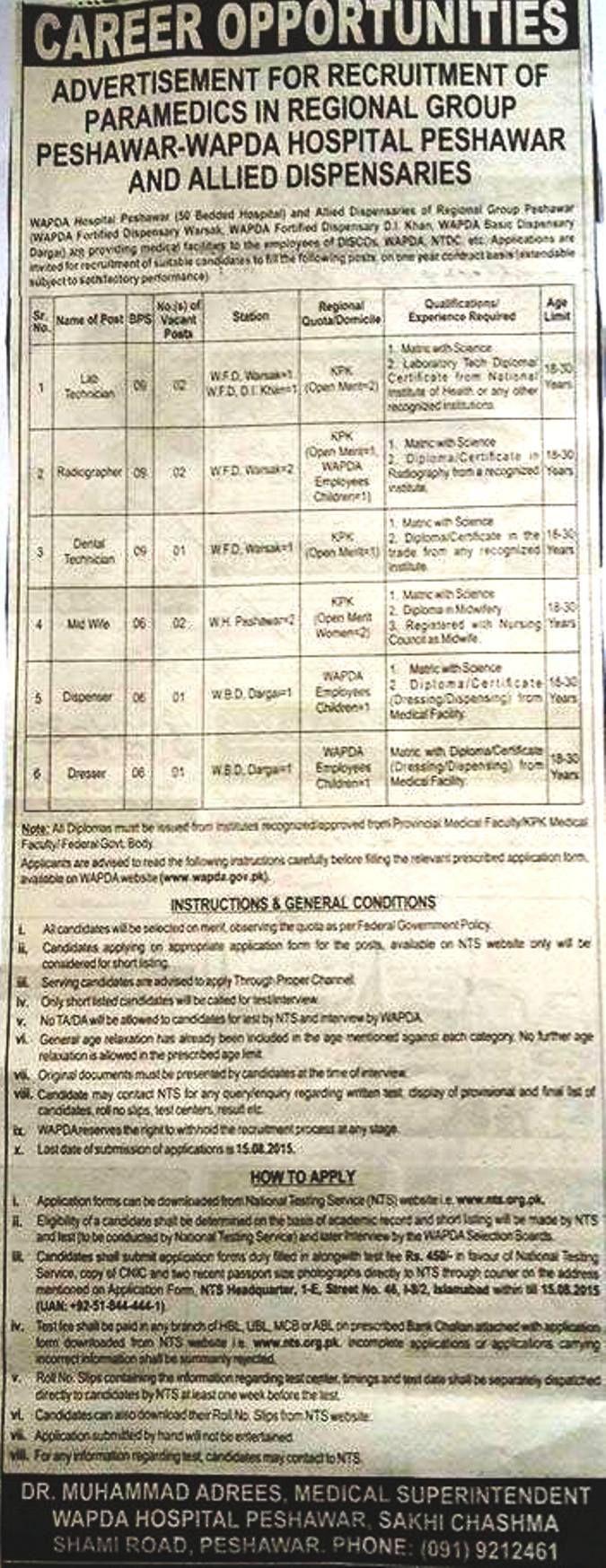 Wapda Hospital Jobs in Peshawar Download Application Form 2015 NTS