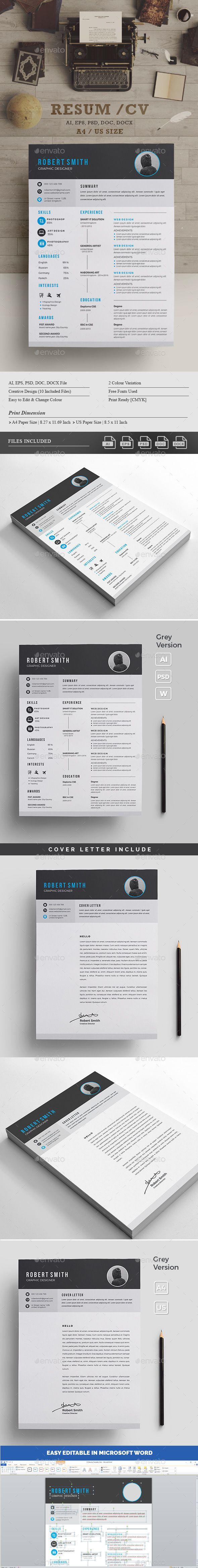 #Resume/CV - #Resumes #Stationery Download here: https://graphicriver.net/item/resumecv/19182084?ref=alena994