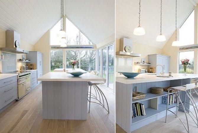 Geniş mutfakları planlarken ada mutfak modellerini mutlaka değerlendirin. Tıpkı burada olduğu gibi geniş bir orta tezgah ve içerisinde kitaplık bile kullanılabilir. Artık bu tarz tasarımla