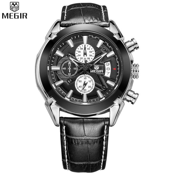 Relogio Masculino MEGIR Chronograph Função Mens Relógios de couro genuíno de luxo Mens Marca Relógios de pulso Militar reloj / ML2020