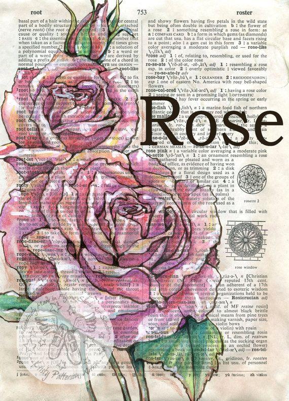 Druck: Rose Mischtechnik Zeichnung auf Distressed, Wörterbuch-Seite