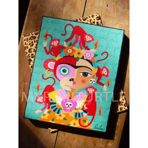 For SALE !   Frida Kahlo Year of the Monkey ORIGINAL 8 x 10 canvas PAINTING by LuLu MyPinkTurtle