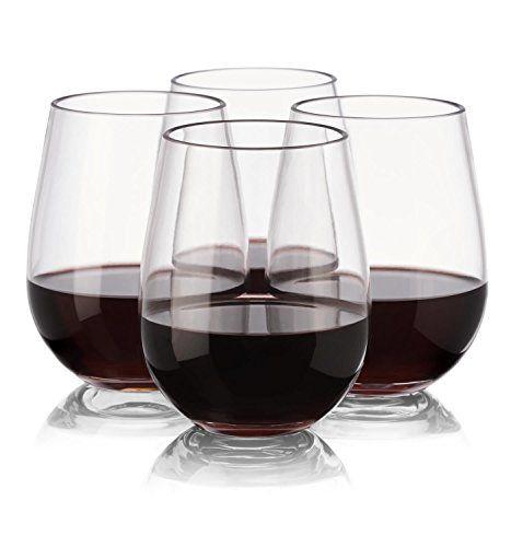 - Hecho de vidrio NOTMOG Tritan irrompible sin tallo copas de vino, juego de 4 #copas #vino