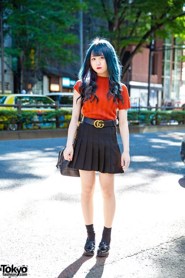 d15eac029dd Harajuku Girl w  Blue Hair in Pleated Skirt