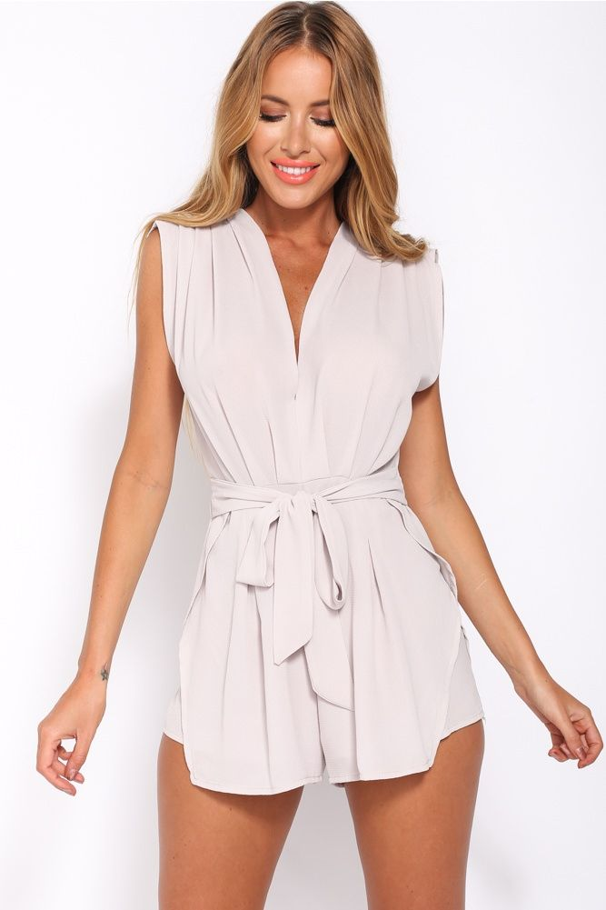 HelloMolly | Thanks Officer Playsuit Grey - Back In Stock - Most Loved