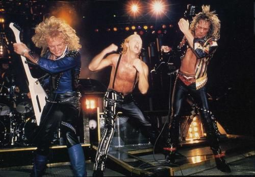 Rob Halford, Glenn Tipton and K.K. Downing performing on Judas Priest's Fuel For Life Tour in 1986.