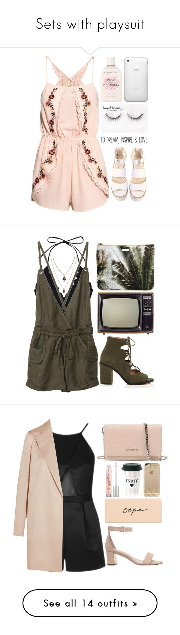"""""""Sets with playsuit"""" by andreiasilva07 ❤ liked on Polyvore featuring H&M, Crabtree & Evelyn, Forever 21, Windsor Smith, Marysia Swim, Mauro Grifoni, River Island, Jamie Jewellery, Carvela and Givenchy"""