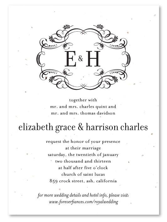 royal sophisticated plantable unique wedding invitationwedding - Plantable Wedding Invitations